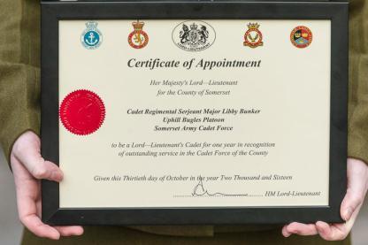 Lord-Lieutenant's Cadet Certificate, Wells